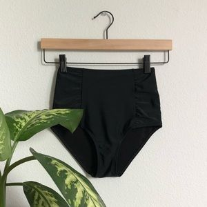 AERIE High Waisted Black Ruched Swim Suit Bottoms